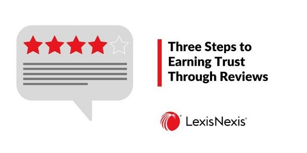A comment bubble with 4 red stars and one empty star and some lines below – reminiscent of consumers online reviews. Three steps to Earning Trust Through Reviews.